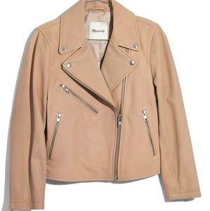 Madewell cropped leather moto jacket m